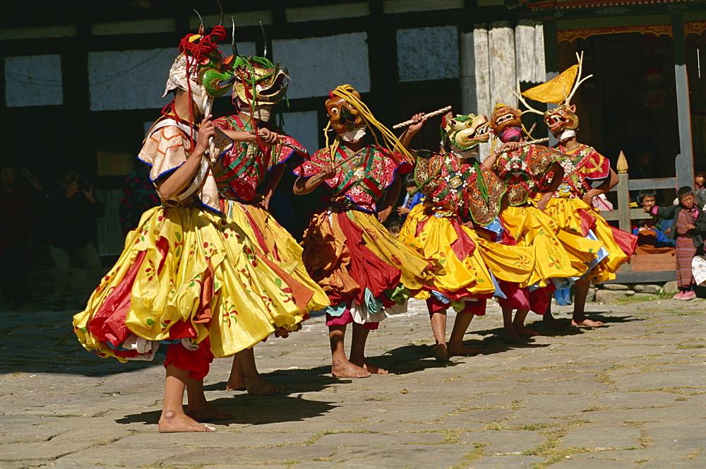 Festival dancers, Bumthang, Bhutan, Asia - 188-5980