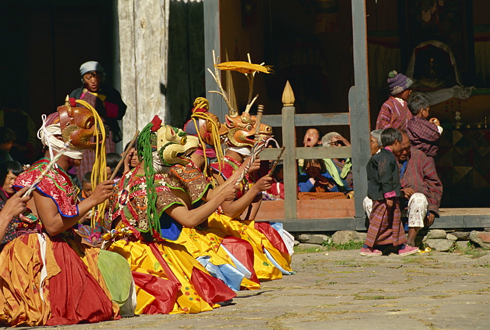 Festival dancers, Bumthang, Bhutan, Asia - 188-5981