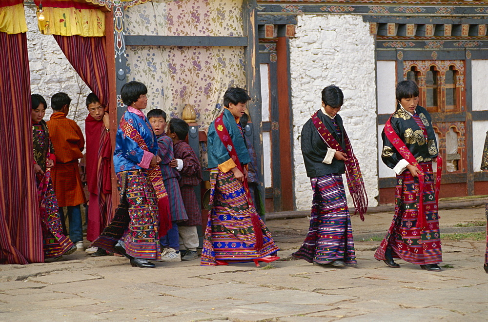 Girl singers at festival, Bumthang, Bhutan, Asia - 188-5984
