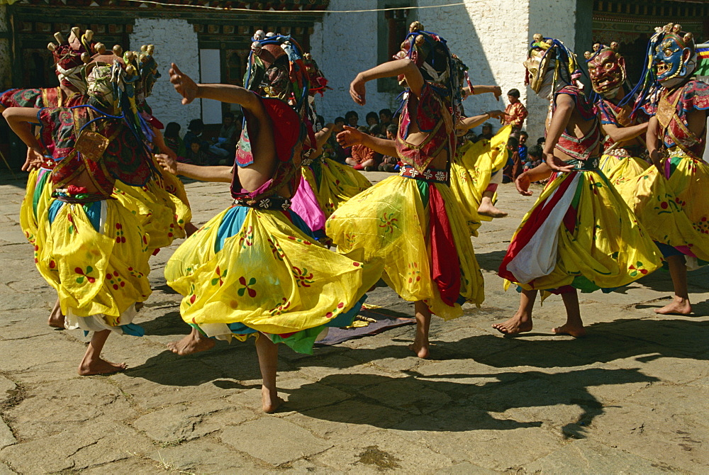 Festival dancers, Bumthang, Bhutan, Asia - 188-5985