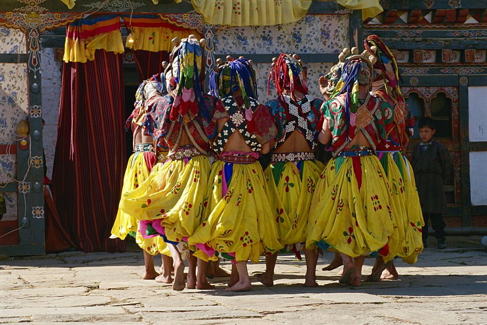 Festival dancers, Bumthang, Bhutan, Asia - 188-5987