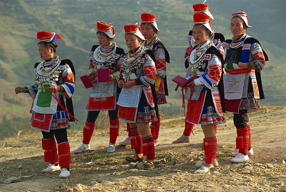 Miao girls in festival dress, Gejia, southeast Guizhou, Guizhou, China, Asia - 188-6668
