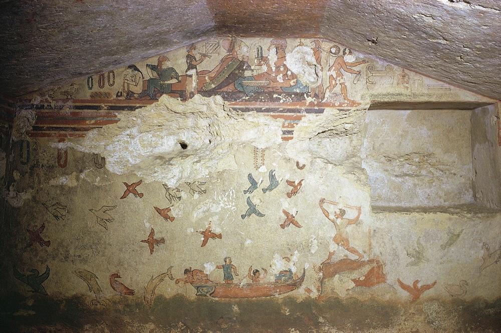Etruscan tomb, Tarquinia, Italy, Europe