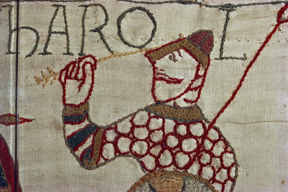 Death of King Harold showing an arrow in his eye, Bayeux Tapestry, Bayeux, Normandy, France, Europe