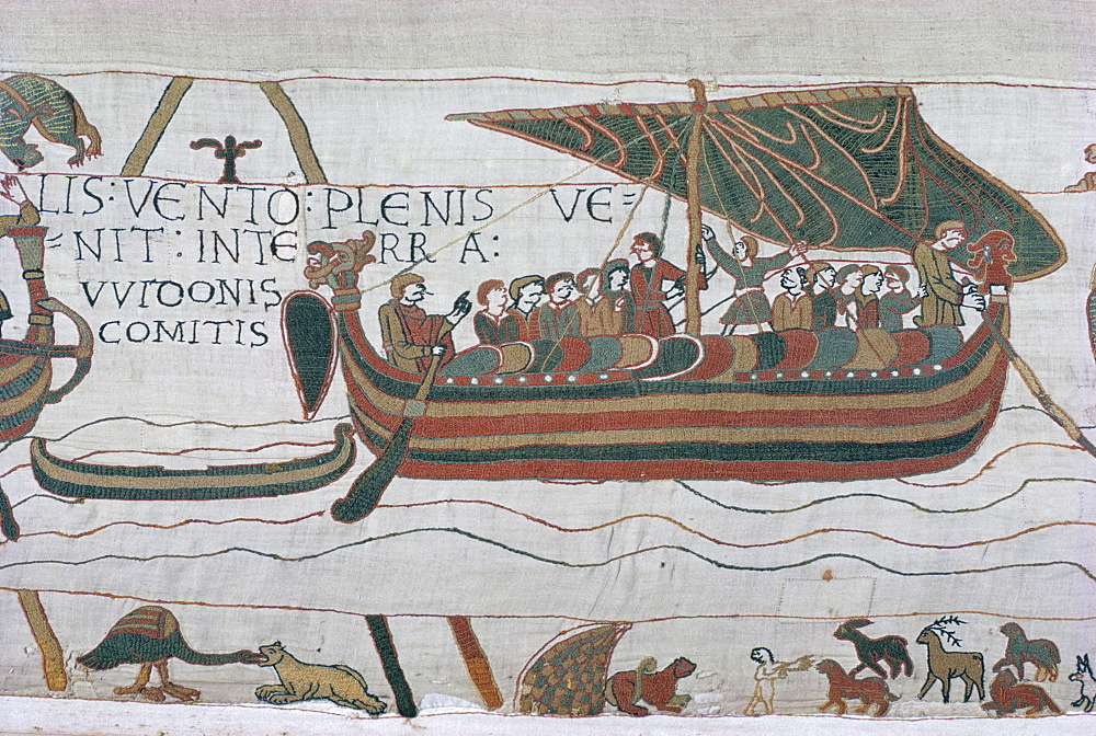 Harold steers ship across channel, a scene from the Bayeux Tapestry, Bayeux, Normandy, France, Europe