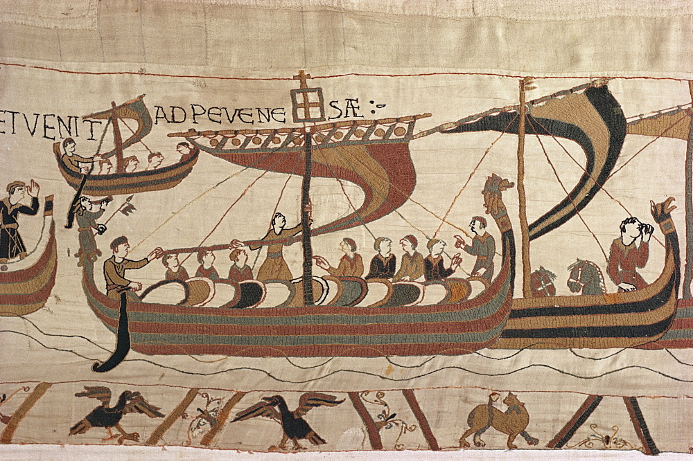 Invasion fleet, William steers ship with signal lantern on mast and stern, Bayeux Tapestry, Normandy, France, Europe