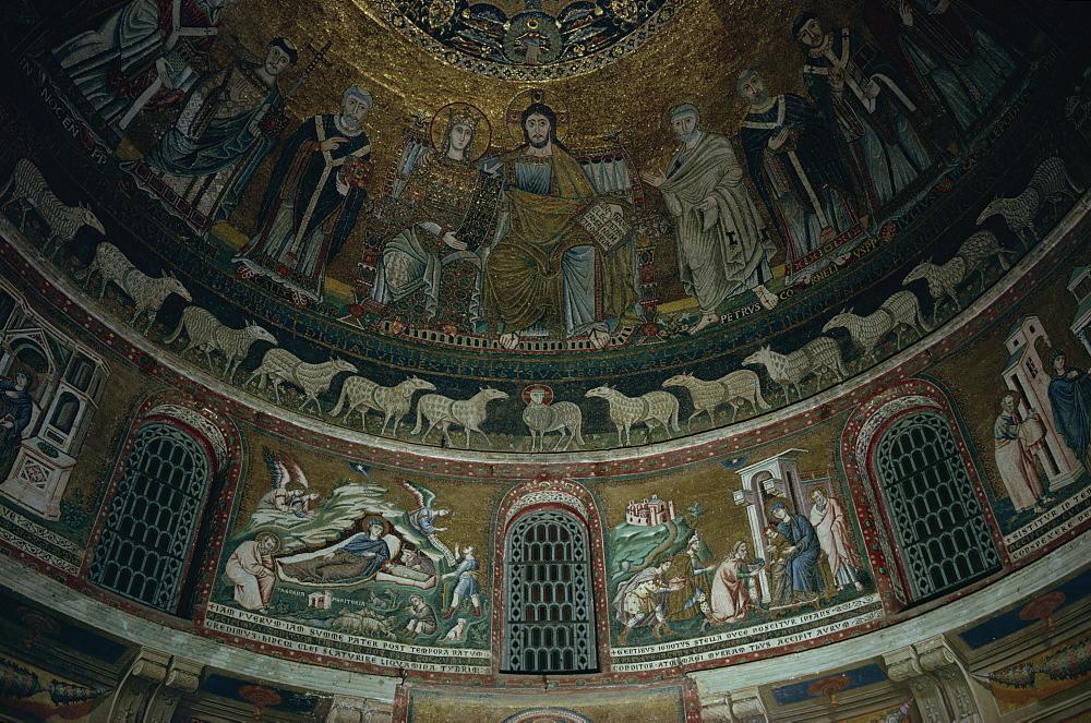 Apse mosaic, Santa Maria in Trastevere, Rome, Lazio, Italy, Europe