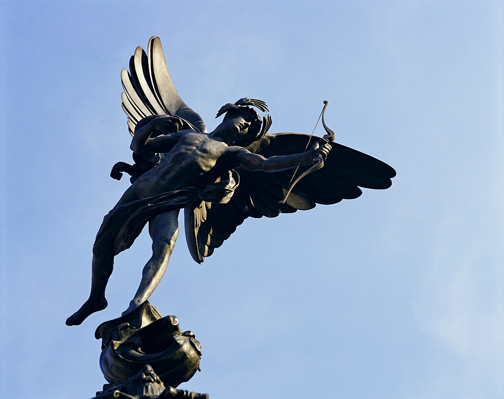 Close-up of the statue of Eros on the Shaftesbury Memorial, Piccadilly Circus, London, England, United Kingdom, Europe
