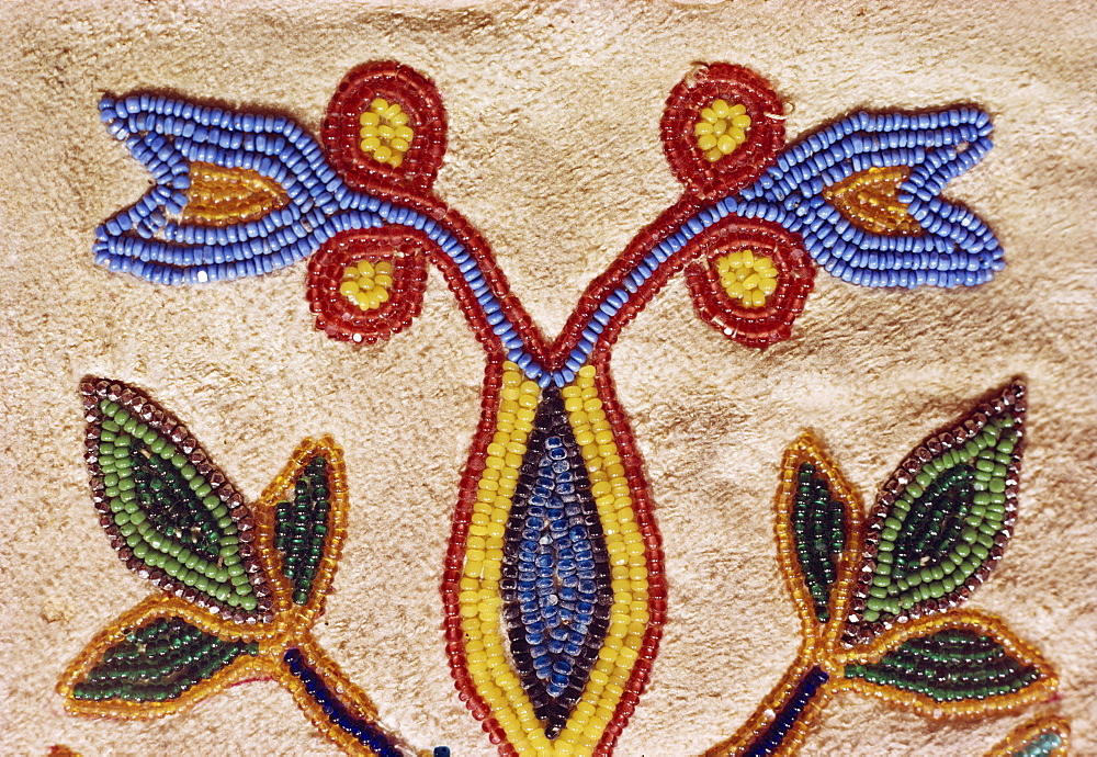 Detail of Blackfoot gloves from around 1890, buckskin with glass beads, Robert A. Testudine Collection, United States of America, North America - 190-972