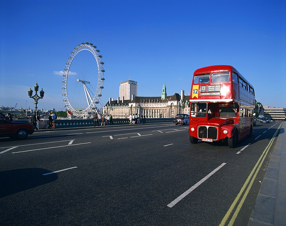 Old Routemaster bus before they were withdrawn, on Wesminster Bridge with London Eye in background, London, England, United Kingdom, Europe