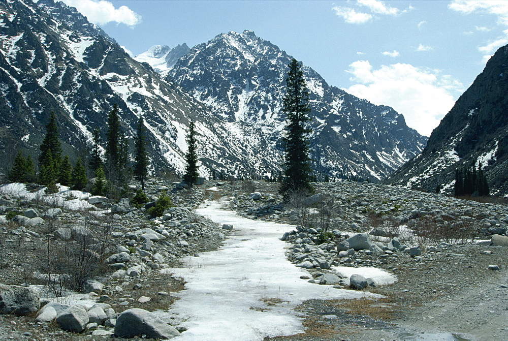 Mountain spring in spring, Ala Acha Nature Reserve, near Bishkek, Kyrgyzstan, Central Asia, Asia