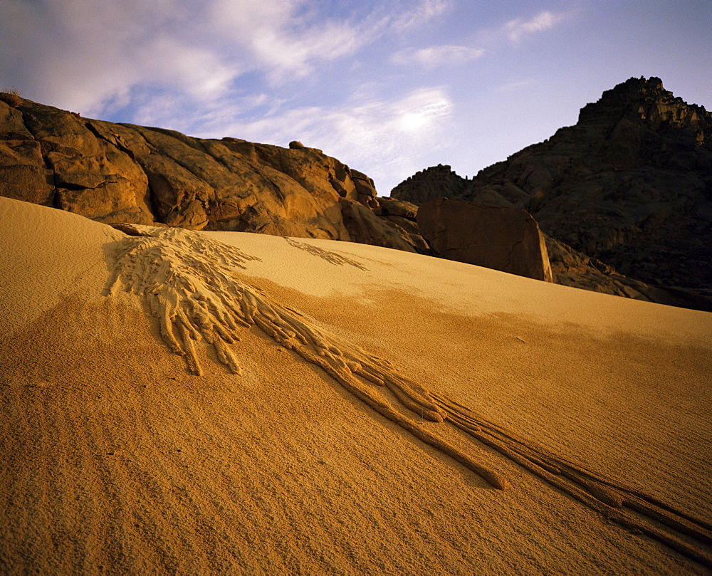 A sand avalanche after a rainstorm in the Sahara Desert, Algeria, North Africa, Africa