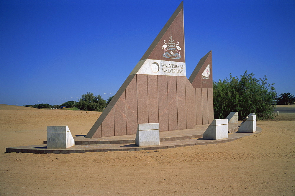 Boundary and welcome sign, Walvis Bay, Namibia, Africa - 197-2398