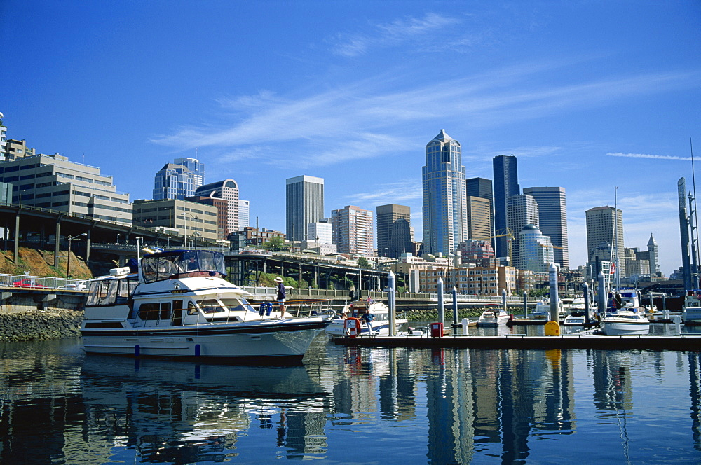 The harbour and city skyline, viewed from the waterfront, of Seattle, Washington State, United States of America, North America