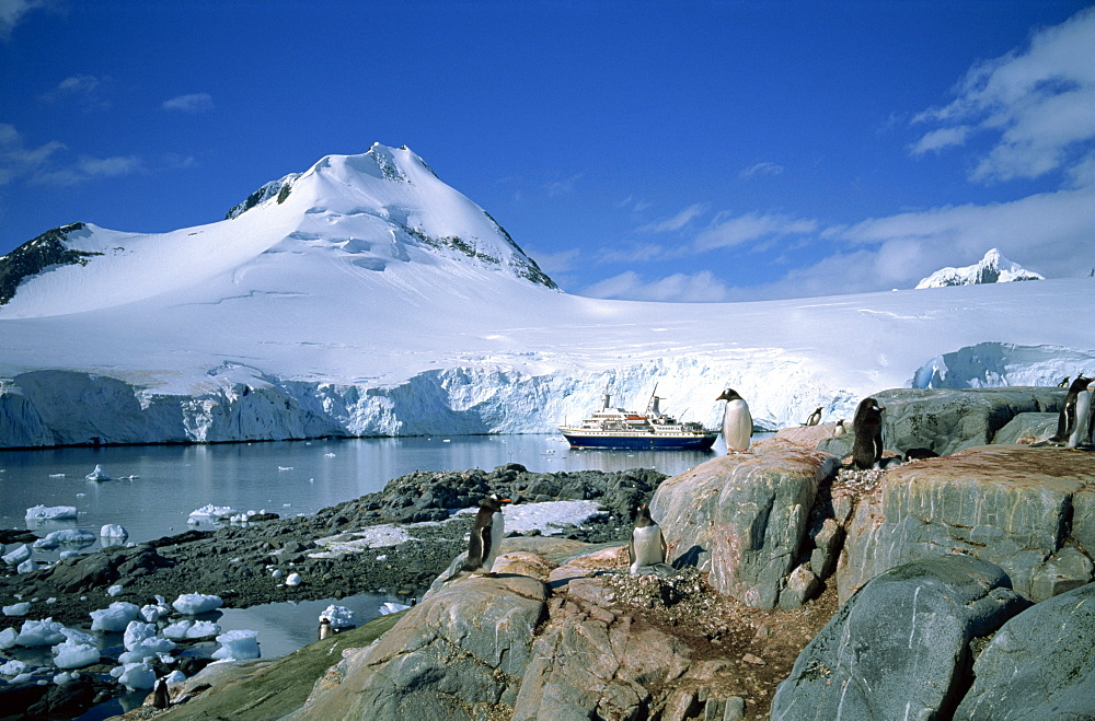 The cruise ship World Discoverer at anchor in Port Lockroy, once a Second World War British Station, now a post office, Antarctic Peninsula, Antarctica, Polar Regions