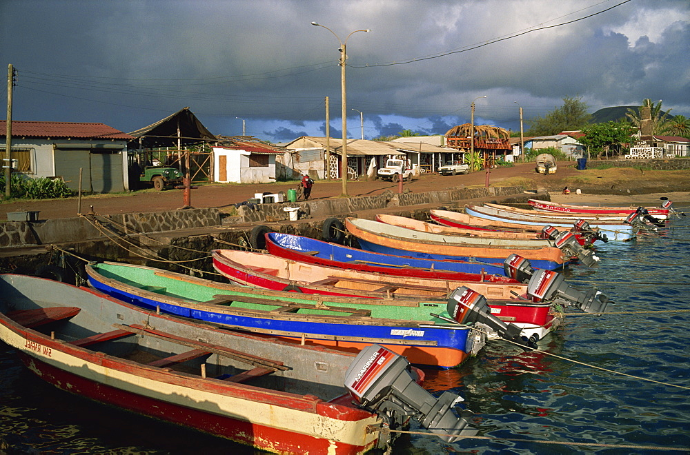 Tuna fishing boats, Hanga Roa, Easter Island, Chile, South America - 197-3147