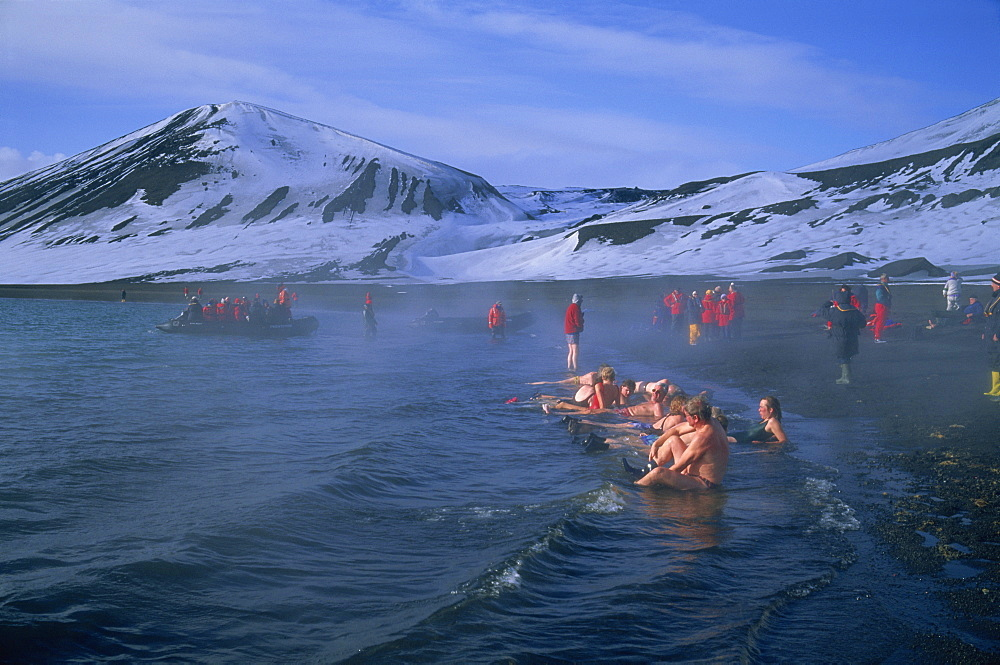 Tourists bathing in hot tub in dormant volcanic crater, Deception Island, Antarctica, Polar Regions - 197-3331