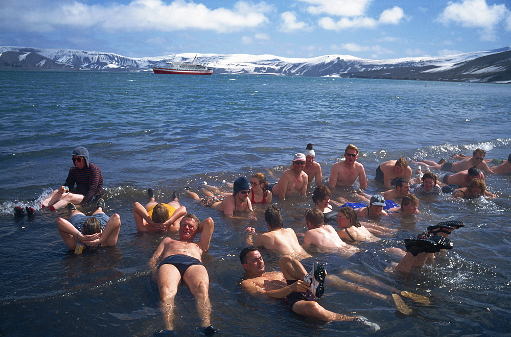 Hot tub bathing in volcanic fumaroles, Deception Island, Antarctica, Polar Regions - 197-4715