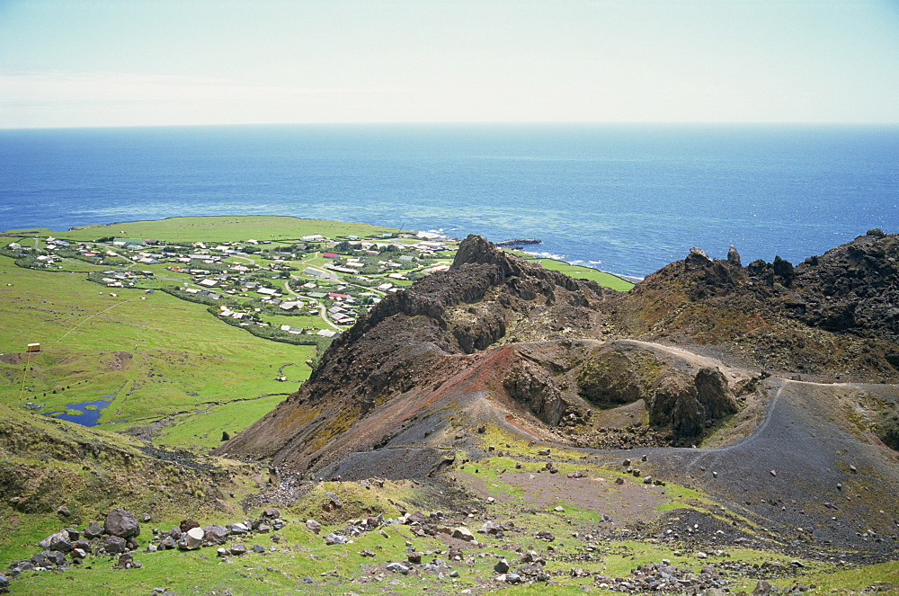 Edinburgh settlement and the 1961 volcanic cone, Tristan da Cunha, Mid Atlantic - 197-4860