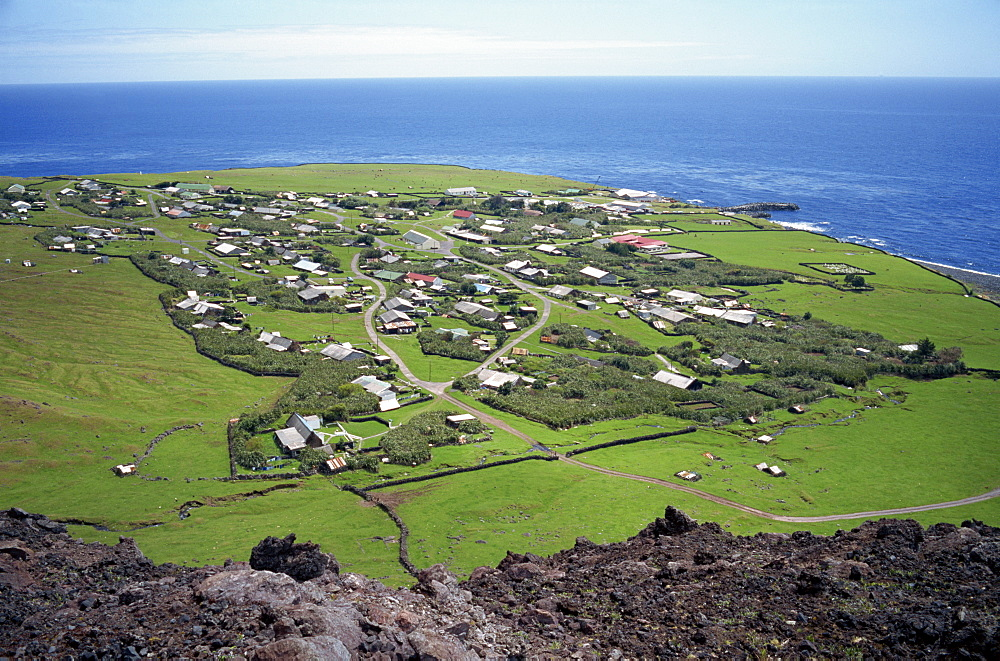 The settlement from the 1961 volcanic cone, with the ocean in the background, Edinburgh, Tristan da Cunha, Mid Atlantic