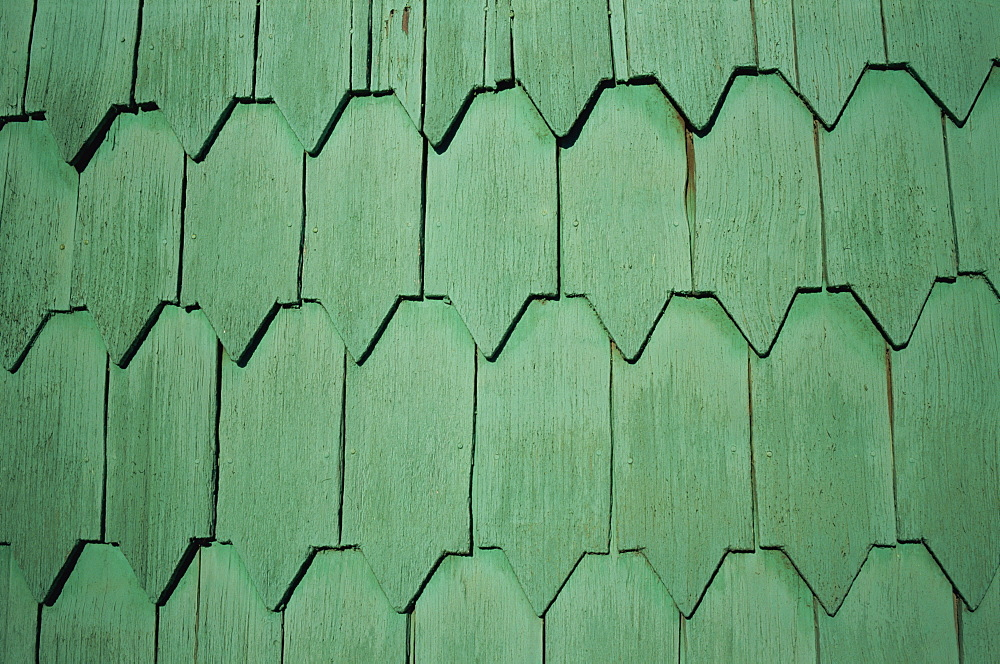 Close-up of tejuelas (house shingles), Chiloe, Chile, South America - 197-4955