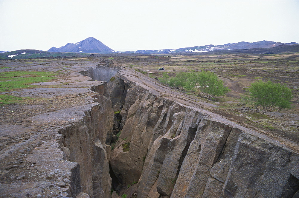 Rift where earth is splitting at plate boundary, Grotagja, Lake Myvatn region, north east area, Iceland, Polar Regions - 197-5137