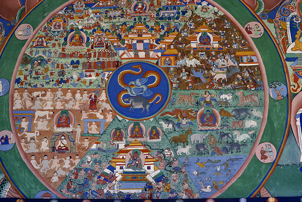 Wall painting of the wheel of life, Punakha Dzong, Bhutan, Asia - 2-11502