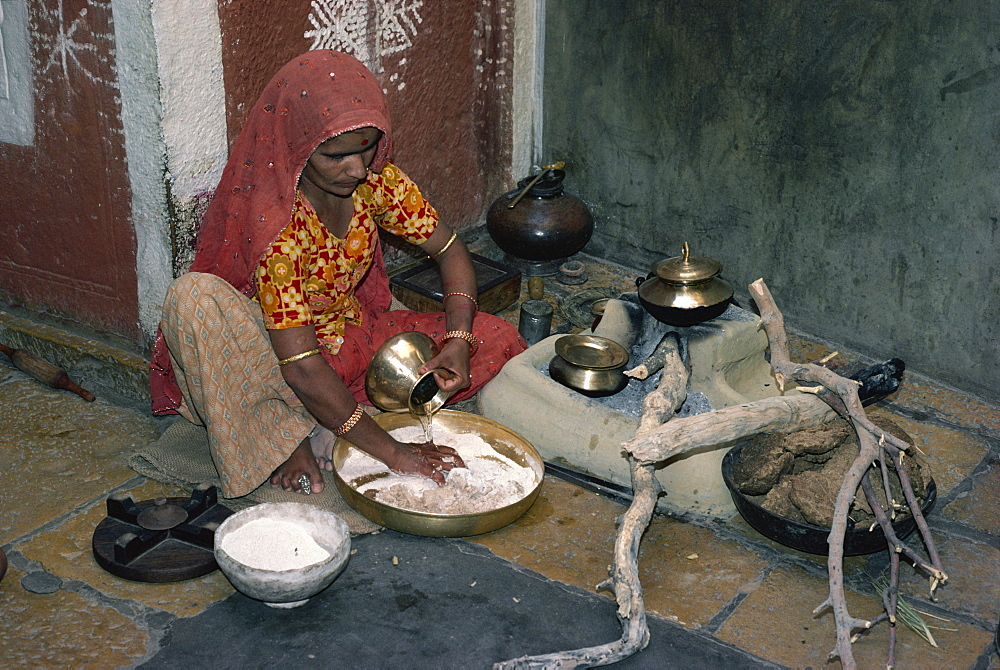Woman in her kitchen, Jaisalmer, Rajasthan state, India, Asia - 2-14074