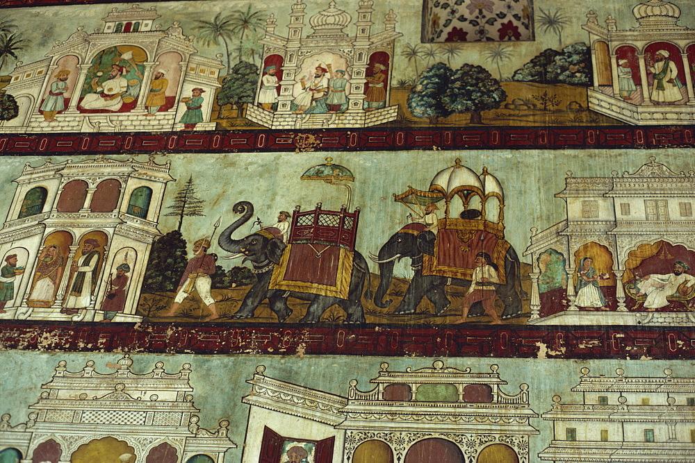 Murals in Tipu Sultan's palace, Seringapatam, Mysore, Karnataka state, India, Asia