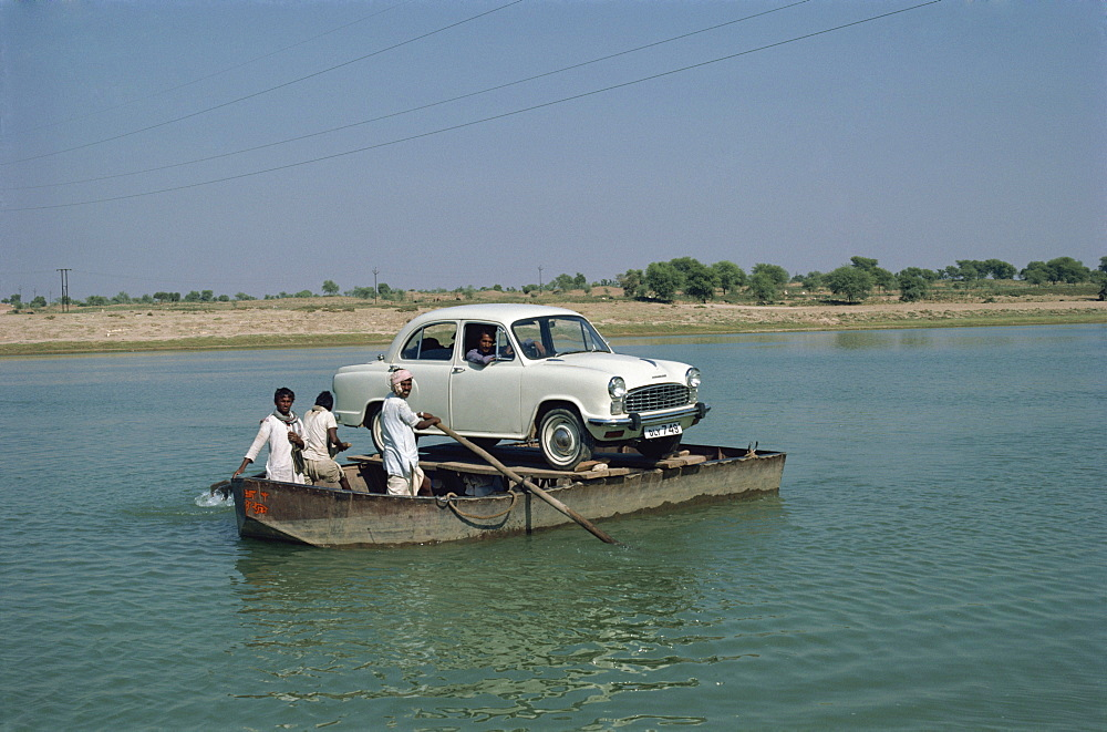 Car on rowboat ferry in Rajasthan state, India, Asia - 2-17758