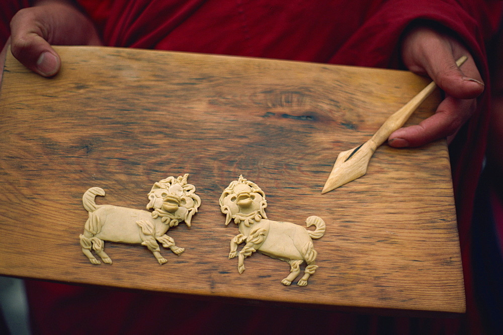 Yak butter offerings in shape of lions, Bhutan, Asia - 2-17948