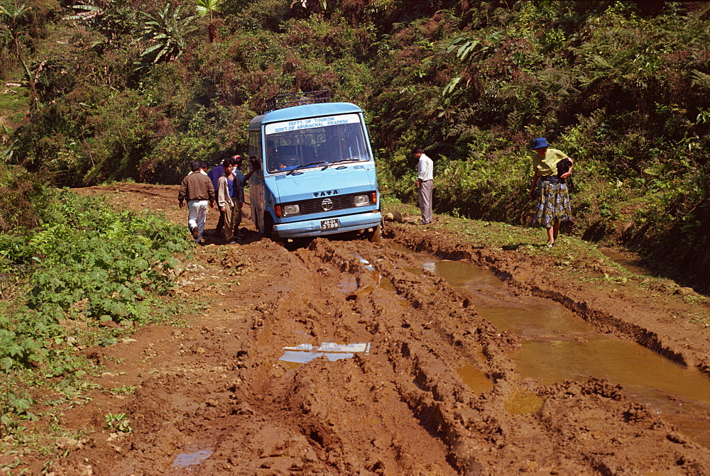 Tourist bus stuck in the mud, Arunachal Pradesh, India, Asia - 2-20679