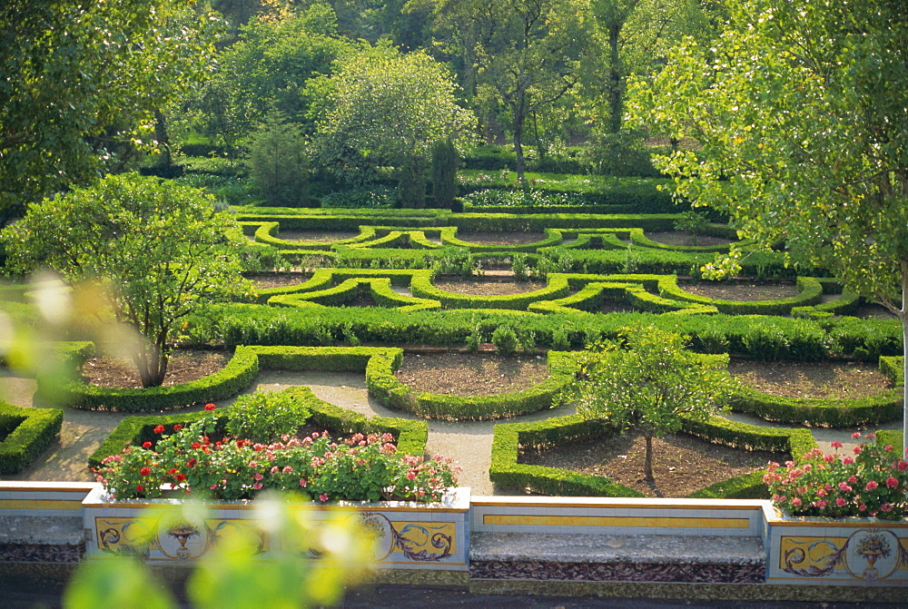 Gardens of the 18th century Queluz Palace, Queluz, Lisbon, Portugal, Europe