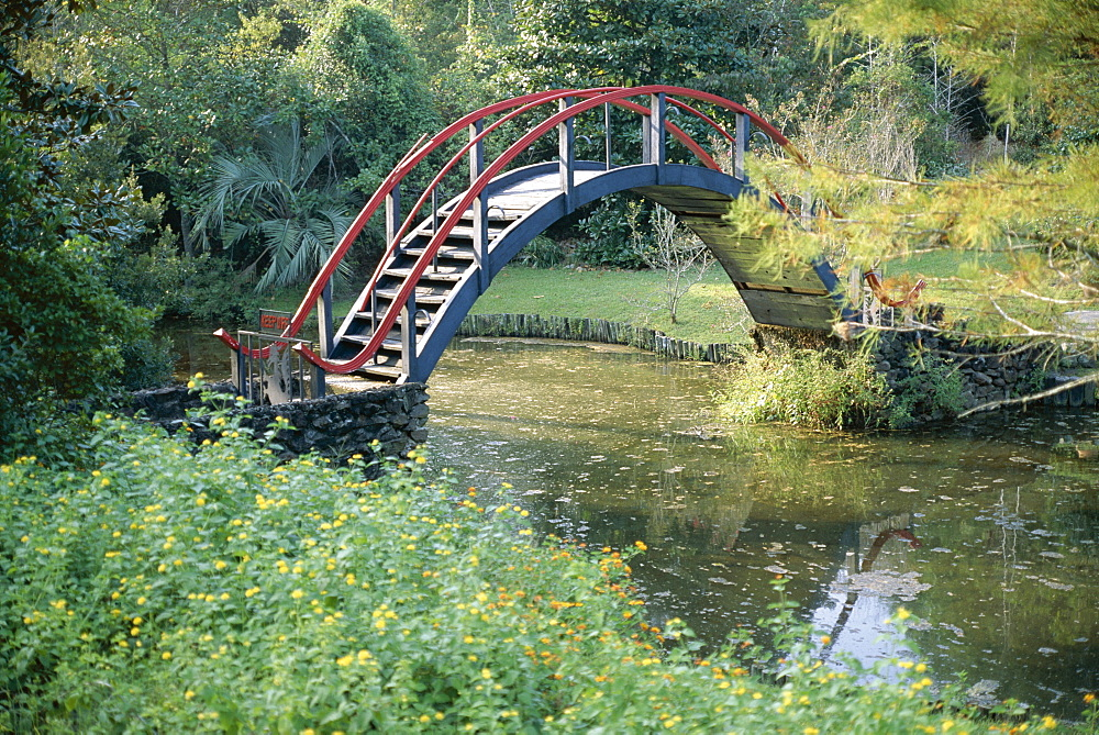 Arched bridge in Oriental American garden, Ballingrath Gardens, Mobile, Alabama, United States of America (U.S.A.), North America
