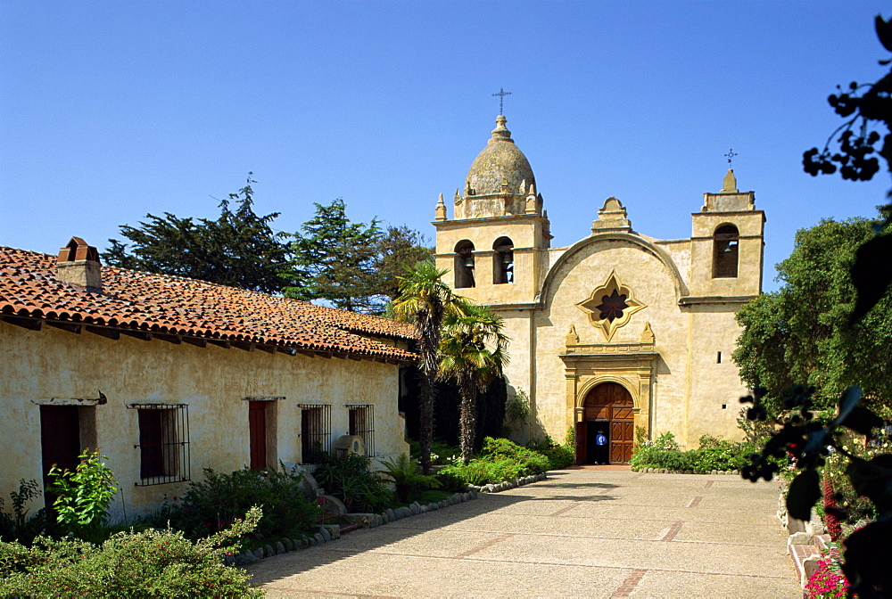 The Carmel Mission Basilica, the mission of San Carlos Borromeo, founded in 1770 by Junirero Serra, Carmel-by-the-Sea, California, United States of America, North America