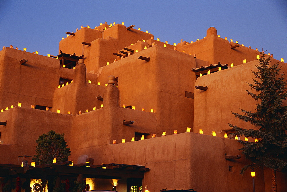 Farolitos at Loretto during the Christmas season, at Santa Fe, New Mexico, United States of America, North America