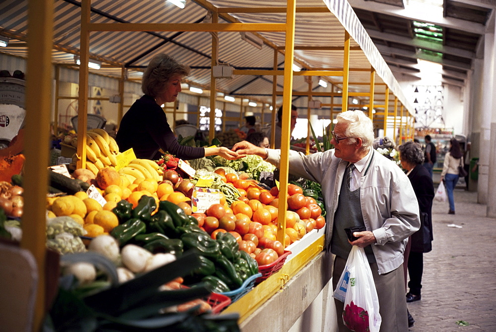 Shopping in the market hall, Faro, Portugal, Europe