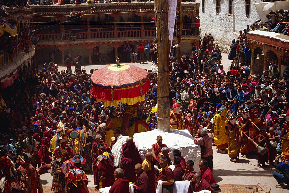 Procession on the first morning of the Hemis Summer Festival, Hemis Monastery, Ladakh, India, Asia - 225-2549