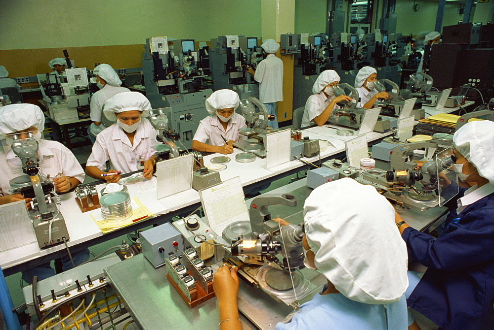 Women working on a production line in the computer industry in Bangkok, Thailand, Southeast Asia, Asia - 238-170