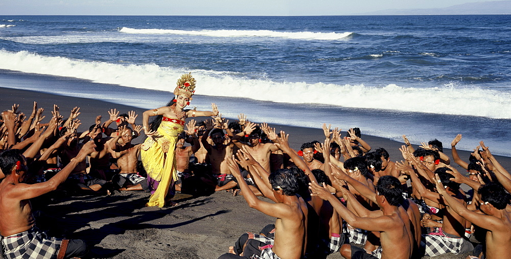 Kecak (Monkey Dance), created by German artist and choreographer Walter Spies in the 1930s drawing on elements of the Hindu epic the Ramayana, Bali, Indonesia, Southeast Asia, Asia