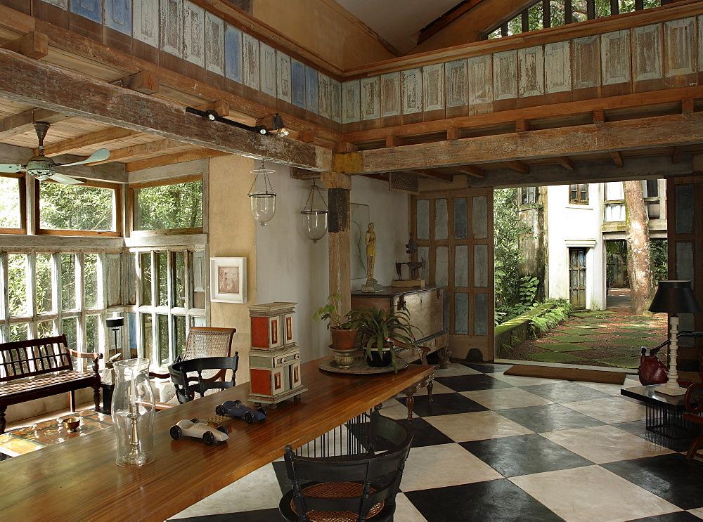 Interior of Lunuganga Garden Estate, garden developed by Geoffrey Bawa who lived between 1919 and 2003, Bentota, Sri Lanka, Asia