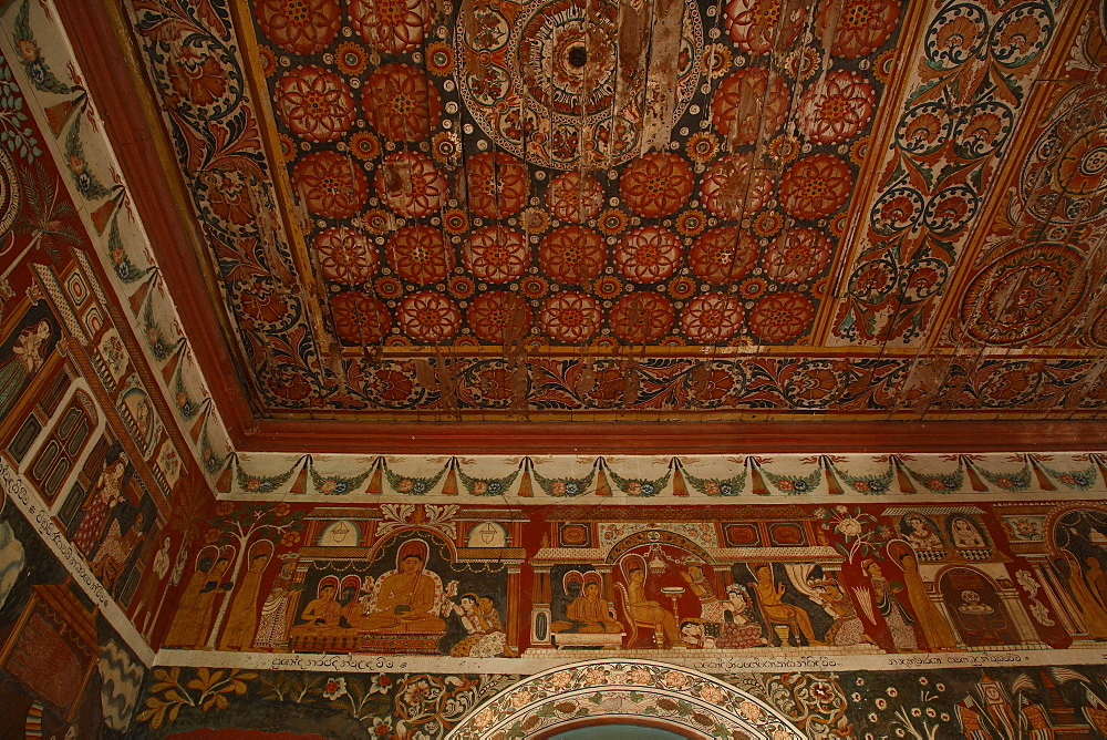 Detail of ceiling and walls of the Preaching Hall, Subodharama Temple, Dehiwala, Colombo, Sri Lanka, Asia