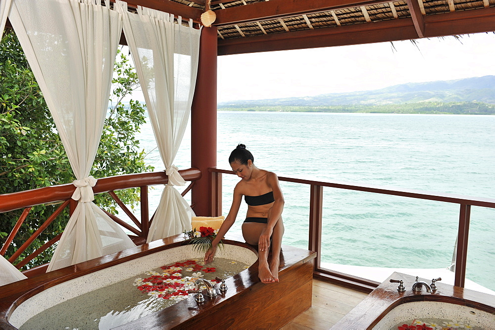 Flower bath at the Badian Natural Spa at Badian Island Resort and Spa in Cebu, Philippines, Southeast Asia, Asia