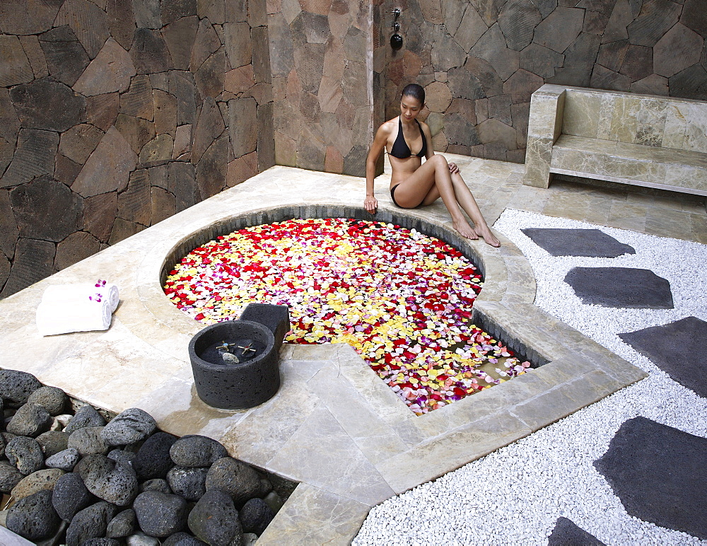 Hot spring pool with flowers at Brilliant Spa and Resort in Kunming, China, Asia - 238-5121