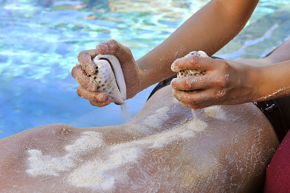Sand and salt scrub at the Chi Spa at Shangri La Boracay Resort and Spa, Boracay, Philippines, Southeast Asia, Asia - 238-5256