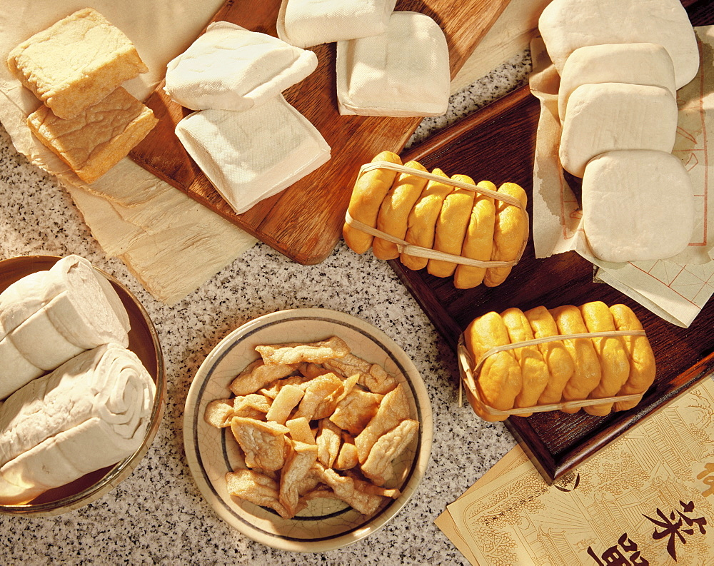 Various kinds of tofu (soya bean cakes), China, Asia