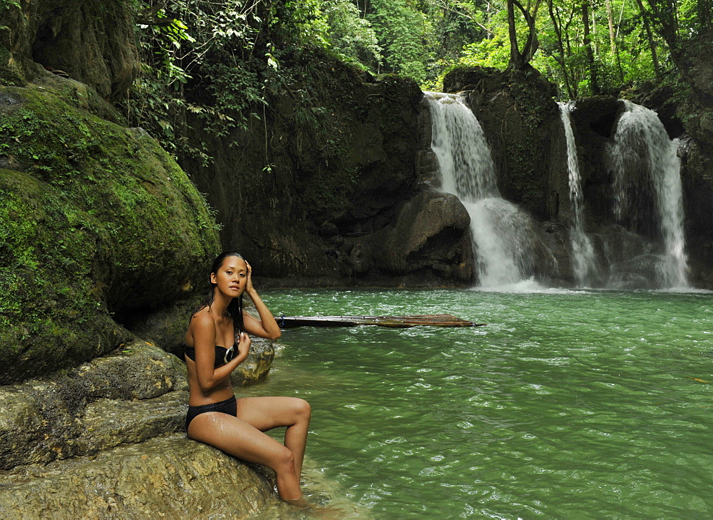 Girl at the Mag-aso Waterfalls, Bohol, Philippines, Southeast Asia, Asia