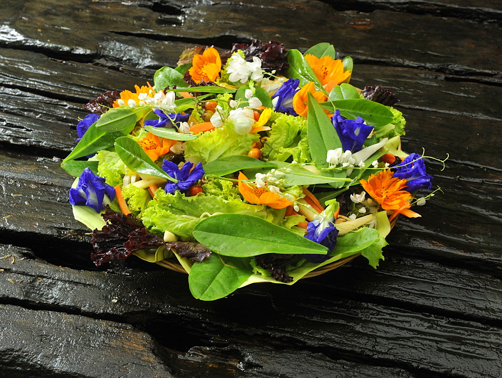 Fresh salad with edible flowers, Philippines, Southeast Asia, Asia