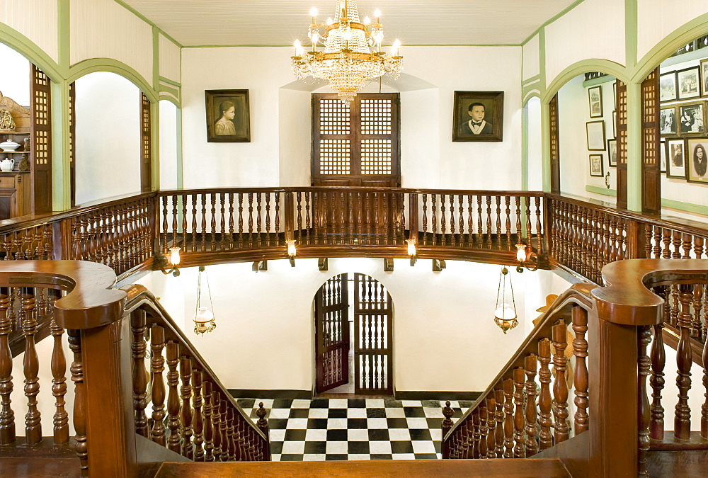 Staircase of the Pastor Heritage House dating from 1883, a classic Filipino style Bahay na bato in Batangas, Philippines, Southeast Asia, Asia