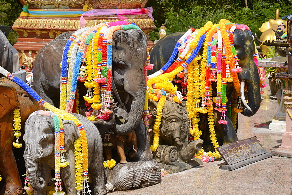 Garlanded elephants at a scenic spot in Phuket, Thailand, Southeast Asia, Asia